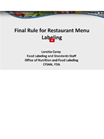 Menu Calorie Labeling Regulations - 2016