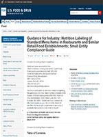 Guidance for Industry: Nutrition Labeling of Standard Menu Items in Restaurants and Similar Retail Food Establishments