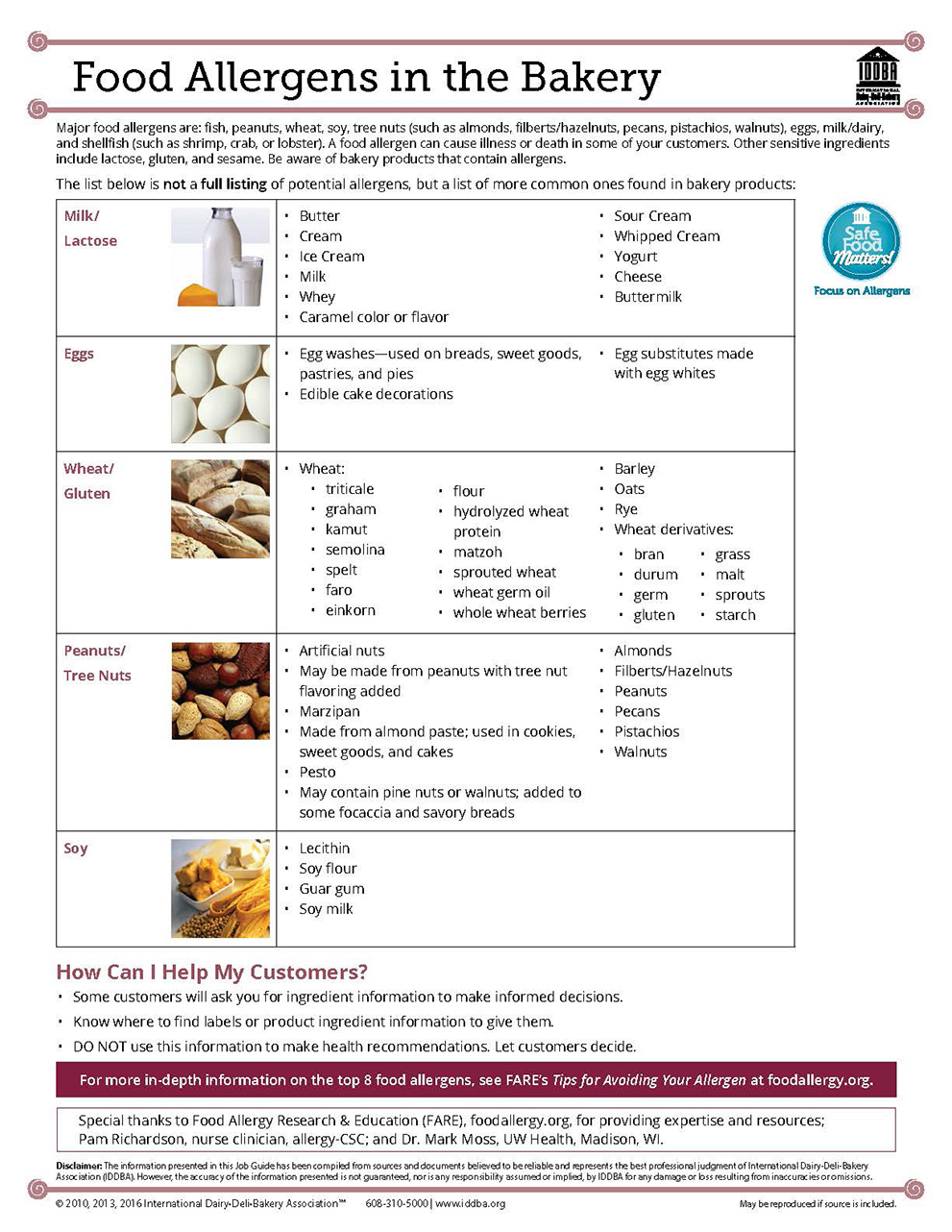 Food Allergens in the Bakery