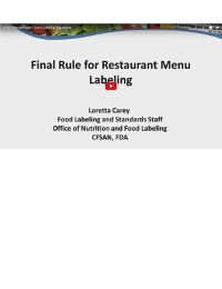 Menu Calorie Labeling Regulations